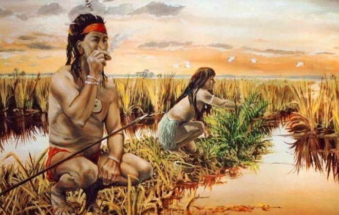 South Florida Indians gathering food in the Everglades about the time of European arrival in Florida Courtesy Theodore Morris.