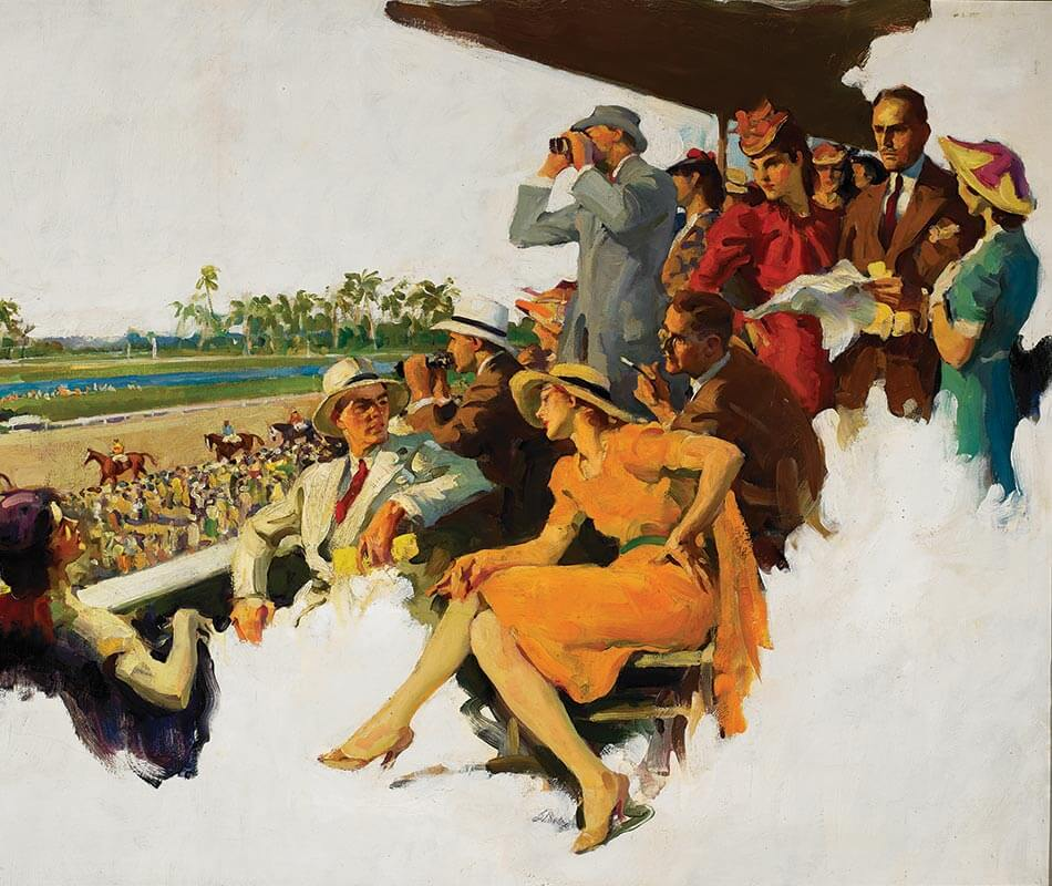 Frank Hoffman (American, 1888–1958) Races at Hialeah 1938, Oil on canvas, 30 x 40 in.