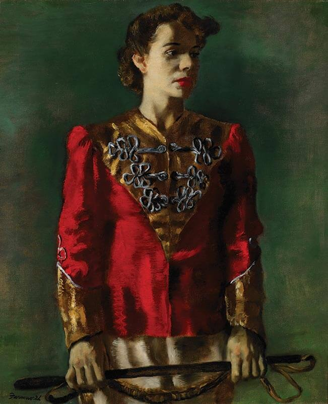 Jerry Farnsworth (American, 1895 –1982) Madame Kovar, Ringling Lion Tamer 1944, Oil on canvas, 30 by 25 in.